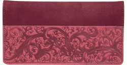 Burgundy Embossed Leather Checkbook Cover - click to view product detail page