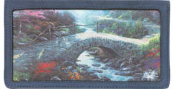 Bridge of Faith Blue Leather Checkbook Cover