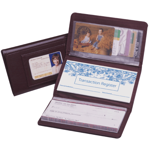 Burgundy Trifold Checkbook Cover - enlarged image