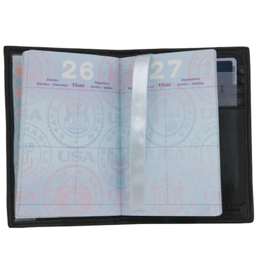Black Leather Passport Case - enlarged image