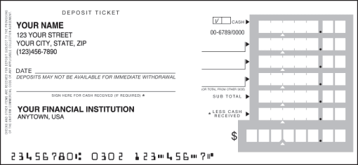 Deposit slips order online today for Checking deposit slip template