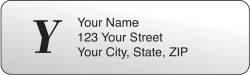Clear Monogram Rolled Address Labels - click to view product detail page