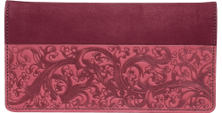 Burgundy Embossed Leather Checkbook Cover