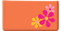 Retro Flower Orange Checkbook Cover