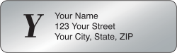 Silver Monogram Rolled Address Labels - click to view product detail page