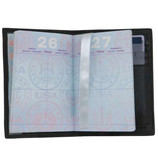 Black Leather Passport Case - enlarged image