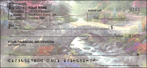 Serenity with Spanish verse Checks - enlarged image