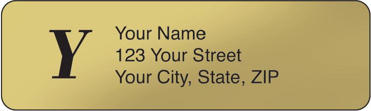 Gold Monogram Rolled Address Labels Set of 250