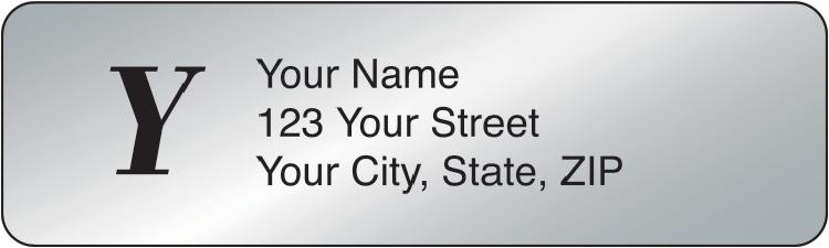 Silver Monogram Rolled Address Labels Set of 250