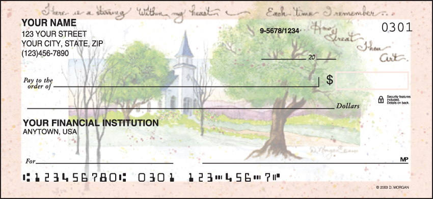 Amazing Grace Religious Personal Checks - 1 Box - Duplicates