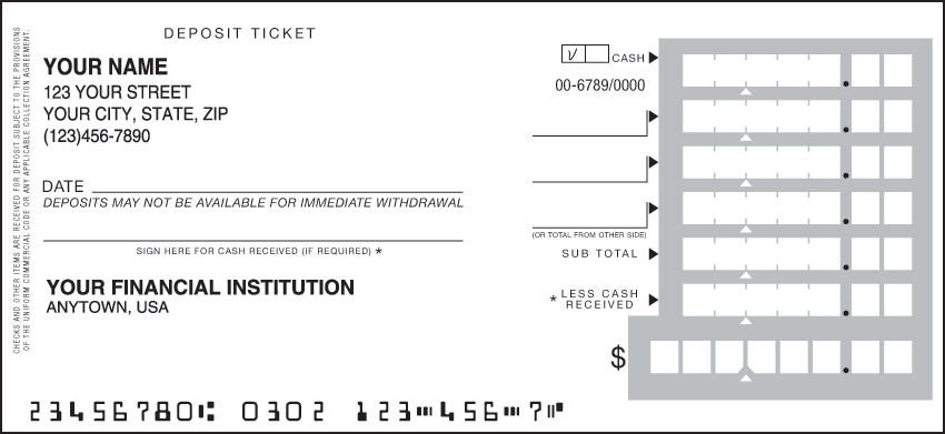 One Part Deposit Slips