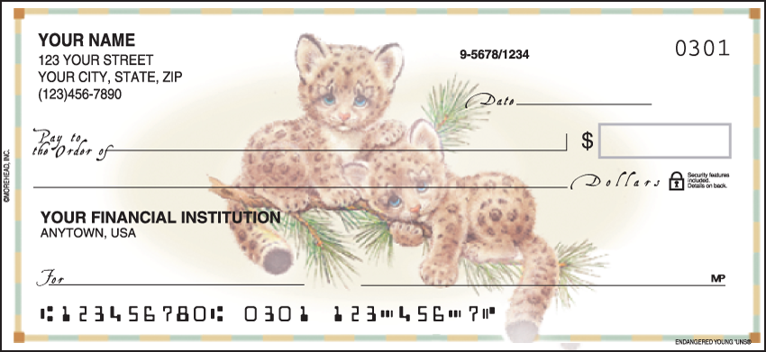 Endangered Young'uns Animal Personal Checks - 1 Box - Duplicates