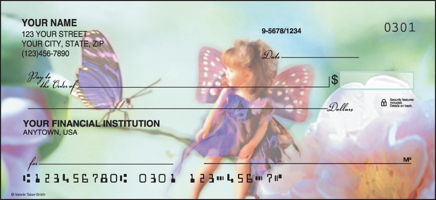 Floral Fairies Flower Personal Checks - 1 Box - Duplicates
