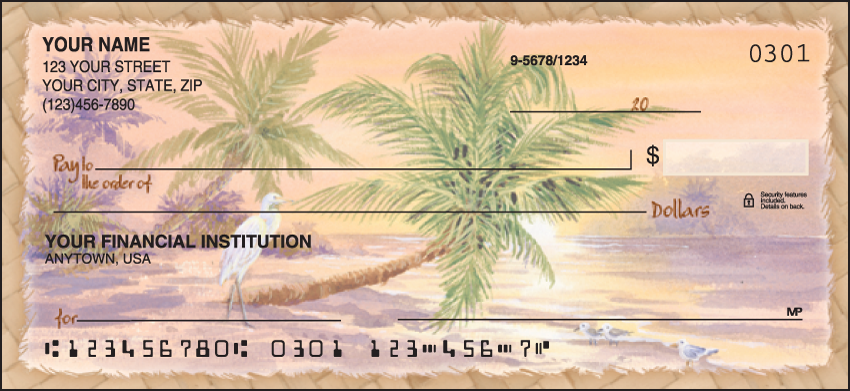 Palm Trees Scenic Personal Checks - 1 Box