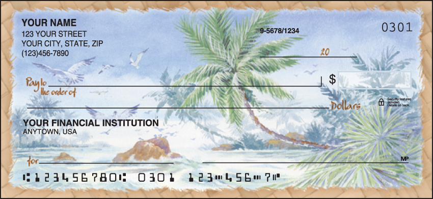 Palm Trees Scenic Personal Checks - 1 Box - Duplicates