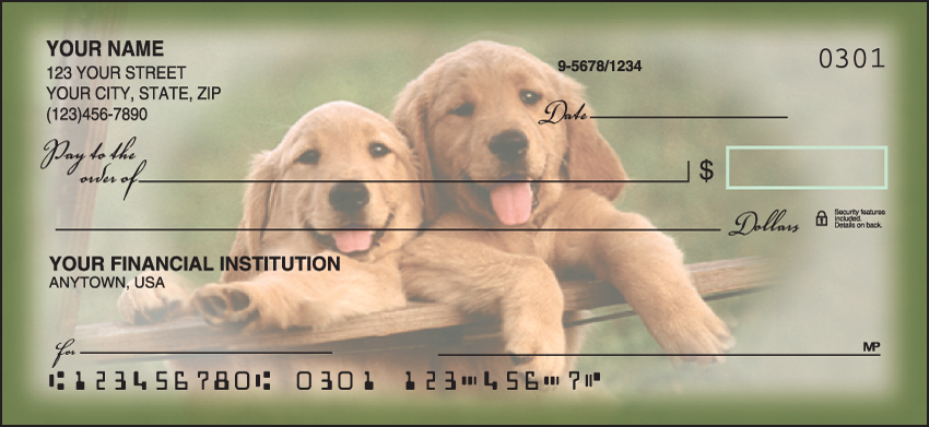 Playful Pups Animal Personal Checks - 1 Box - Duplicates