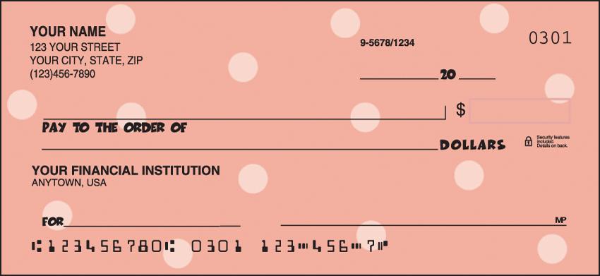 Polka-Dots Pattern Personal Checks - 1 Box - Duplicates