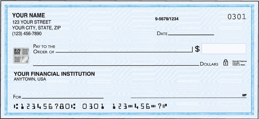 Securiguard Blue Security Personal Checks - 1 Box - Duplicates