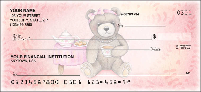 Teddy Bears Animal Personal Checks - 1 Box - Duplicates