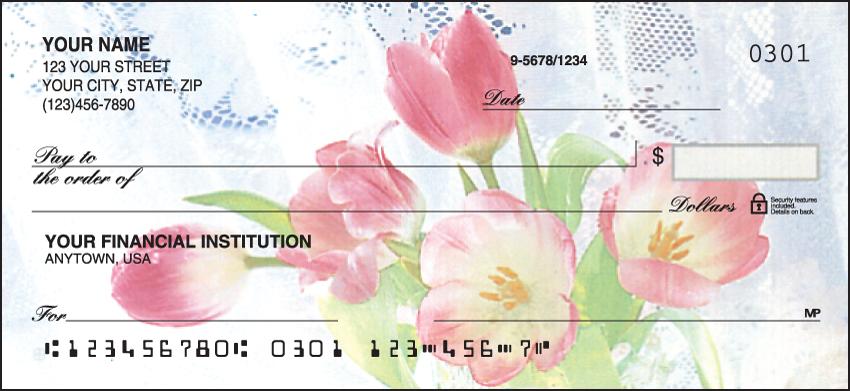 Tulip Whispers Flower Personal Checks - 1 Box - Duplicates
