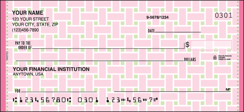 Twisted Pattern Personal Checks - 1 Box - Duplicates
