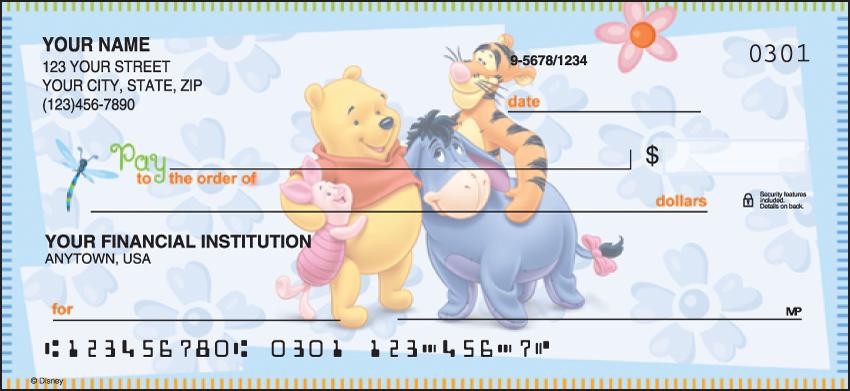Winnie the Pooh Disney Personal Checks - 1 Box - Duplicates