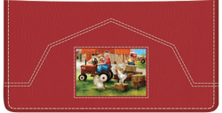 Farm Animals Red Checkbook Cover