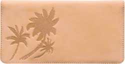 Palm Trees Tan Leather Checkbook Cover